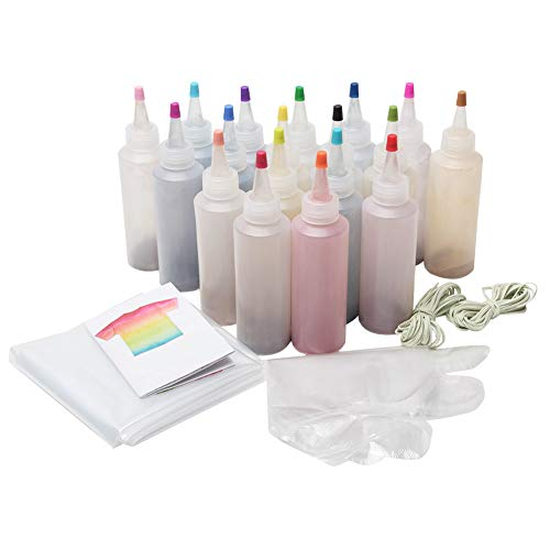 Kit de tie-dye para teñir el tulipán, tinte de tela para teñir, juego de tinte para niños y adultos, ropa de bricolaje 18 Colors