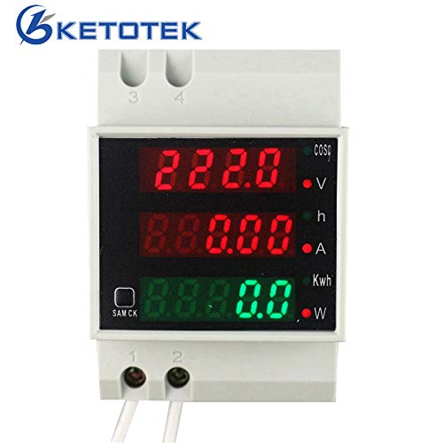 KETOTEK Spanningstester Ampèremeter Digitaal AC 80-300V/100A Energiemeter Voltmeter Din Rail Multimeter Volt Amp Watt Elektrische Energie Monitor voor Machine Industrie Binnen Buiten