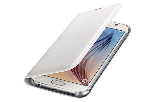 Samsung Leather-Effect Flip Folio Wallet Schutzhülle Case Cover in Kunstleder mit Kreditkartenfach für Galaxy S6, weiß