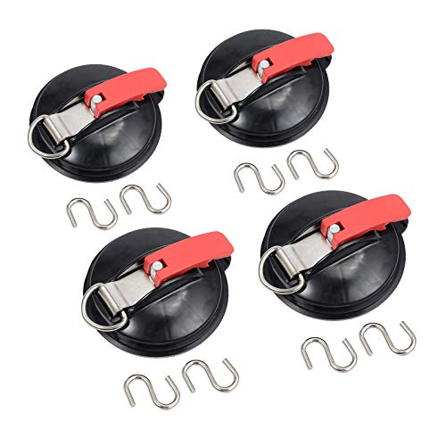 CAMWAY 4Pcs Heavy Duty Suction Cups with 2Pcs S-hooks Multi-Function Suction Cup Anchor Tool for Tie Down Luggage Tarps Tents Camping Car Van Truck Boat