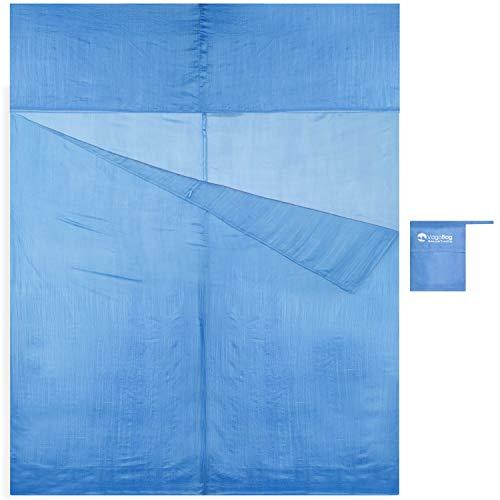 Vagabag - Saco Sábana de Dormir - Sábana de Seda Ultraligera - cómoda y Suave: 100% Seda Natural - Compartimento para Almohada - para Acampada y Cualquier Viaje (Azul de Persia, 2 Pers. 170x230 cm)