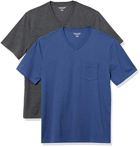 Amazon Essentials Men's 2-Pack Loose-Fit Short-Sleeve V-Neck Pocket T-Shirt, Imperial Blue/Charcoal Heather, XX-Large
