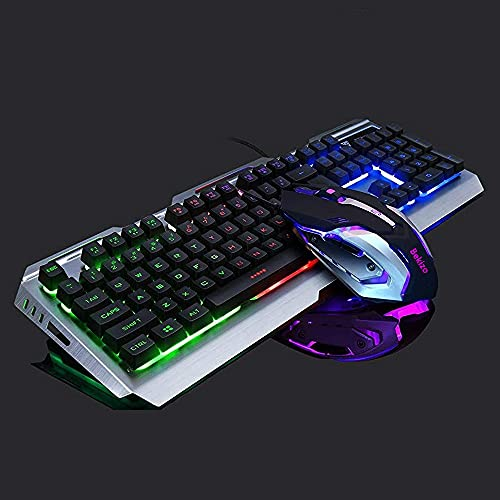 Iron Gaming Keyboard and Mouse Combo Rainbow Backlit,Wired Gaming Keyboard RGB Color Changing Keyboard Light Keyboard,PC Keyboard Computer USB Keyboard,LED Keyboard for Xbox One PS4 Gamers