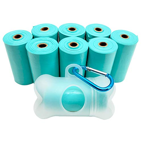 POQOD Dog Poop Bags - Leak-Proof Dog Waste Bags, Clean up Pet Poo Bag Refills 9 Rolls /135 Count, (Greenish-Blue) Includes Free Bone Dispenser and D-Ring Carabiners Clip