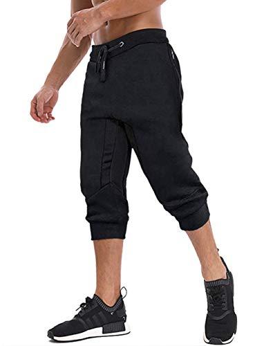 MAGNIVIT Calça capri masculina 3/4 para corrida, treino, academia, abaixo do joelho, bolsos com zíper, Black 2, 30