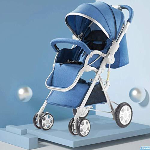 Cochecito con Respaldo Ajustable, Sillas Plegables Lavables con Ruedas De Amortiguación, Carros De Bebé con Soporte De Taza Extraíble Un Paso En El Freno(Color:Azul)