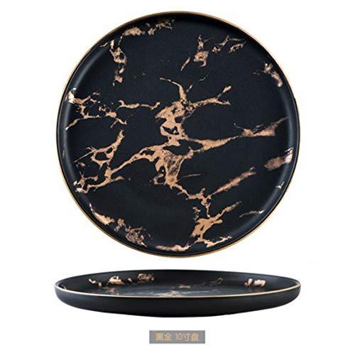 6/8/10 inch servies luxe gouden randen marmeren bord unieke mat zwart-wit servies keukenblad 1 STKS, A 1 ST, 8 inch