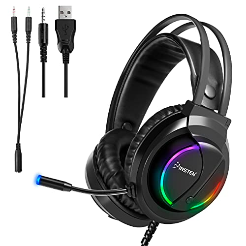 Gaming Headset Compatible with PS4, PS5, Xbox, Nintendo Switch, PC, Headphone with Microphone, Noise Cancelling, Stereo, RGB LED Light, Black, 40mm Driver