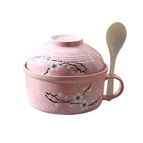 KSWD Tazones de consomé Tazón para Sopa con asa Sopera Bol Cuenco Taza Estilo japones Gran Capacidad Fideos instantáneos Cerámico con Tapa Cuchara Microonda Horno Fácil de Limpiar,Pink