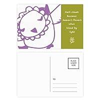 シンプルな線を描く漫画の鳥動物 詩のポストカードセットサンクスカード郵送側20個