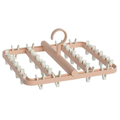 洗濯 物干し ハンガー ピンチハンガー 24ピンチ プラスチック 折りたたみ式 丈夫 収納便利 (ピンク)