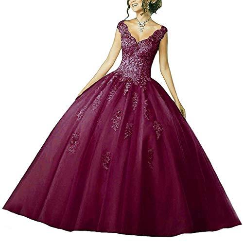 Vantexi Damen V-Ausschnitt Quinceanera Kleider Mit Spitze Abendkleider Lang Hochzeitskleider Elegant Ballkleid Burgund Größe 52