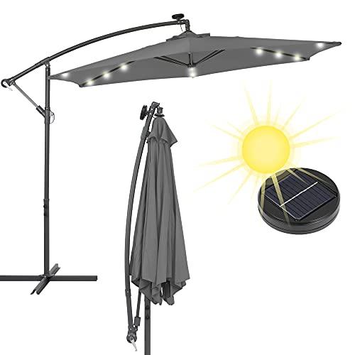 ECD Germany Alu Ampelschirm Anthrazit Ø 300 cm mit LED-Solar-Beleuchtung, Kurbel und Standfuß, wasserabweisend, UV-Schutz, knickbar, Sonnenschirm Marktschirm Gartenschirm Kurbelschirm Terrassenschirm