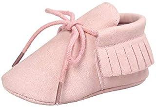 Z-T Unisex Baby Boys Girls Moccasins PU Tassels Prewalker Anti-Slip Soft Sole Crib Shoes (4.33 Inch (0-6 months) Pink) [並行輸入品]