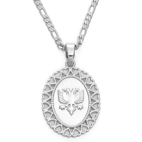 Collar de personalidad, corazón Albania Águila Collares pendientes para hombres Mujeres Color dorado / Color plata Joyería Regalos étnicos Colgante y cadena