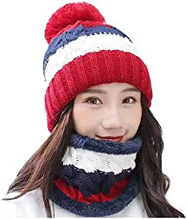 Alexvyan 2 Pcs - Cap and Scarf - Imported Soft Warm Snow and Air Proof Fleece Knitted Cap (Inside Fur) Woolen Beanie Winte...
