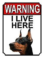 警告私はここに住んでいます メタルポスタレトロなポスタ安全標識壁パネル ティンサイン注意看板壁掛けプレート警告サイン絵図ショップ食料品ショッピングモールパーキングバークラブカフェレストラントイレ公共の場ギフト