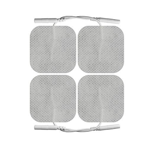4X Elektroden-Pads 50x50 mm - Universalgröße für TENS & EMS - 2mm Stecker - Selbstklebend & Wiederverwendbar