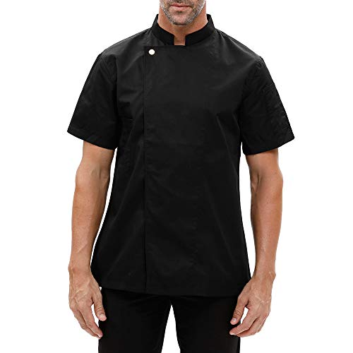 Men's Black Chef Coat Uniform Fashion Single-Breasted Short Sleeve Cook Jacket Restaurant Kitchen Work Clothes (Black, XX-Large)