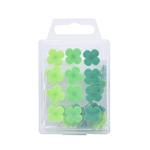 LONG7INES Set of 24 Pcs Four-leaf Clover Push Pins Thumb Tacks Drawing Pins for School, Home, Office Use, Green Photo #4