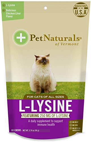 Pet Naturals of Vermont L-Lysine 60 Fun-Shaped Chews for Cats