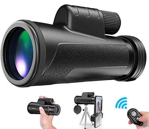 Monocular Telescope with Smartphone Holder - 12X50 High Power HD Monocular, Camera Shutter, Waterproof IPX7, BAK4 Prism, Tripod for Watching Wildlife Bird Hunting Camping Travel