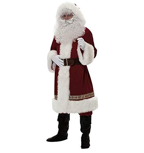 Loalirando Disfraz de Papá Noel para Adultos 4 Piezas Conjunto Ropa Disfraz Santa Claus para Navidad Traje de Felpa para Fiesta Cosplay Costume Christmas S