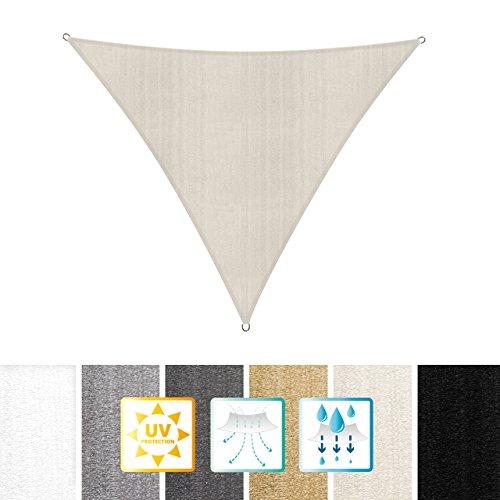 Lumaland Sonnensegel Dreieck 4 x 4 x 4 m - inkl. Befestigungsseile - Wasserabweisend, Wetterbeständig, 100% HDPE mit UV Schutz - Sonennschutz, Schattenspender, Wetterschutz - Creme
