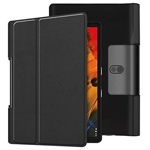 Lobwerk Schutzhülle für Lenovo Yoga Smart Tab YT-X705F 10.1 Zoll Slim Case Etui mit Standfunktion und Auto Sleep/Wake Funktion Schwarz