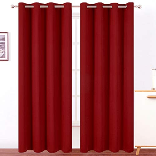 LEMOMO Red Curtains 52 x 84 Inch Long/Blackout Curtains Set of 2 Panels/Room Darkening Thermal Insulated Bedroom Curtains Drape