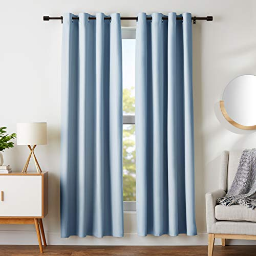 "Amazon Basics Room Darkening Blackout Window Curtains with Grommets - 52"" x 84"", Light Blue, 2 Panels"