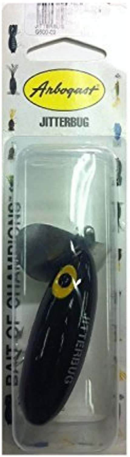 Arbogast Jitterbug Fishing Lure, Black, 2 1 in by Arbogast
