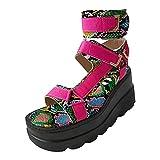 Mhomzawa Femmes Sandales Talon Compensees Plate-Forme Bout Ouvert Chaussure Ete Évider Velcro...
