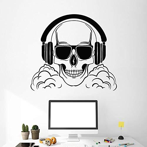 Skull bones wall decal auricular diversin gamer sala de juegos dormitorio adolescente bar decoracin de interiores msica vinilo etiqueta de la ventana mural