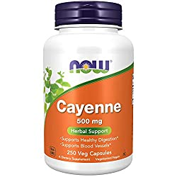NOW Cayenne 500 mg, 250 Veg Capsules