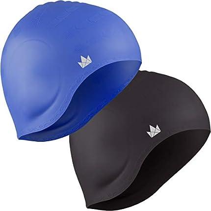 The Friendly Swede Pack de 2 Gorros de Natación de Silicona para Nadadores con Pelo Largo - GARANTÍA DE por Vida (Negro + Azul)