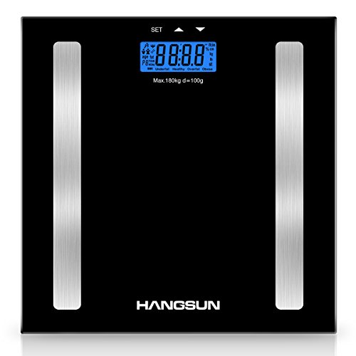 Hangsun Body Fat Weighing Scale Digital Bathroom Scale HS100 Body Composition Analyser Measures Weight, Hydration, Muscle and Bone Mass with BMI Calculation, Backlight Display, Step On-Off Technology