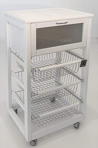 LIBEROSHOPPING.eu - LA TUA CASA IN UN CLICK Carrello da Cucina con Ruote Prestige Lusso portapane e portafrutta (Laccato Bianco)