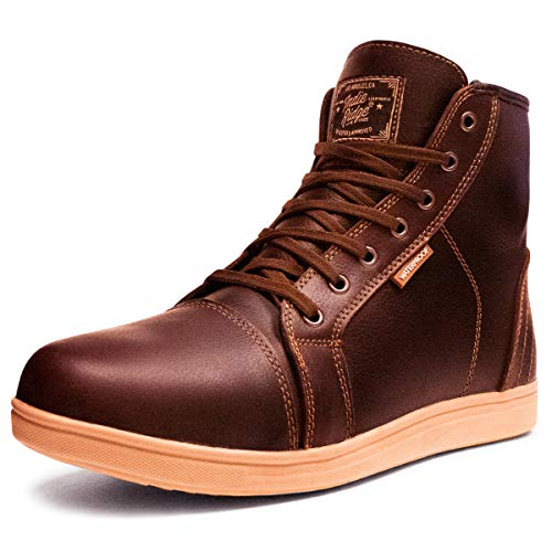 Indie Ridge Brown Full Leather Motorcycle Boots The Cheyenne, Phoenix Series, Ankle Protection (12)