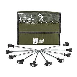 Zite Fishing T-Pegs piquets de Tente pêche & Camping – 10 pièces Piquets en Acier Solide pour tentes de pêche Tentes de Bivouac & Camping