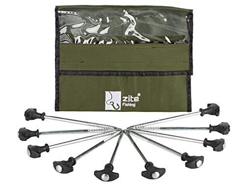 Zite Fishing T-Pegs Zelt-Heringe Angeln & Camping - 10 STK Massive Stahl-Erdnägel für Angelzelte Bivvy & Camping-Zelte
