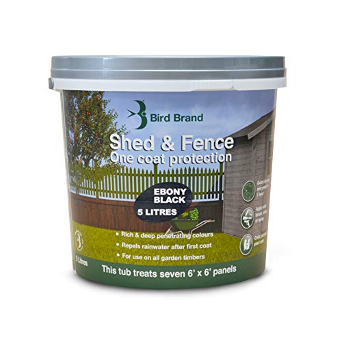 Bird Brand, Shed & Fence One Coat Protection - Garden Paint for Wood - Shed and Fence Paint - Ebony Black Colour, 5-Litre Bucket