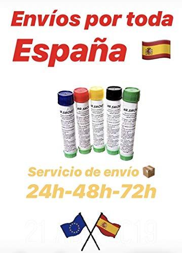Pack 5 Tubos de Humo de Colores 60-70 Segundos: 5 Colores: Azul, Rojo, Amarillo, Negro y Verde. CAMBIEN UN Color SI LO PREFIRE