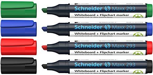 Schneider Maxx 293 Marker (für Whiteboards und Flipcharts, Keilspitze 2 + 5 mm Strichstärke, rückstandsfrei trocken abwischbar, hohe Qualität, kräftig und farbintensiv) Etui mit 4 Farben