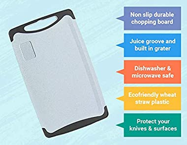 Chopping Board - Non Slip Cutting Board, BPA Free, Large, Easy Grip Handles and Garlic Grooves, eco-Friendly Wheat-Straw Plas