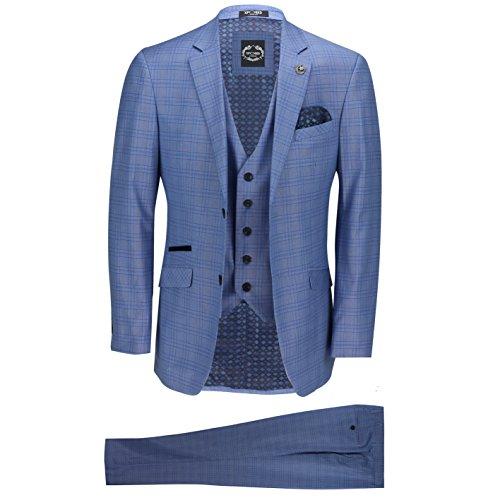 Xposed Neue Männer 3 Stück Maßgeschneidert Blau GlenÜberprüft eleganten Formal Vintage Retro-Anzug[SUIT-MARK-4-LIGHT-Blau-50]