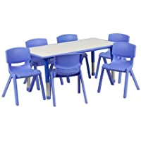 Flash Furniture Plastic Activity Table Set (Blue/Grey)