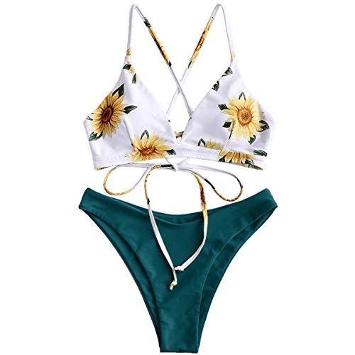 ZAFUL Damen Gepolsterter Bikini Set Bademode Badeanzug mit Blumenmuster Schn¨¹Rung Zweiteilig Blau gr¨¹n Small