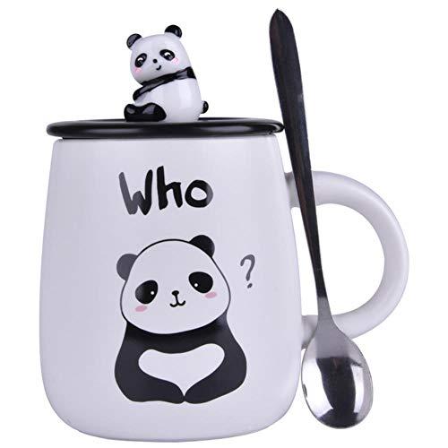 Espressotasse Geschenk Keramikbecher Mit Deckel Löffel Cartoon-Becher Niedlicher Becher Personalisierte Kaffeetasse Keramik-Kaffeetasse Panda-Becher, C.