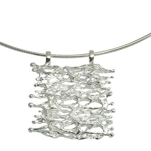 Design Anhänger Silber hochwertige Goldschmiedearbeit aus Deutschland (Sterlingsilber 925) - Design Silberanhänger Geflecht